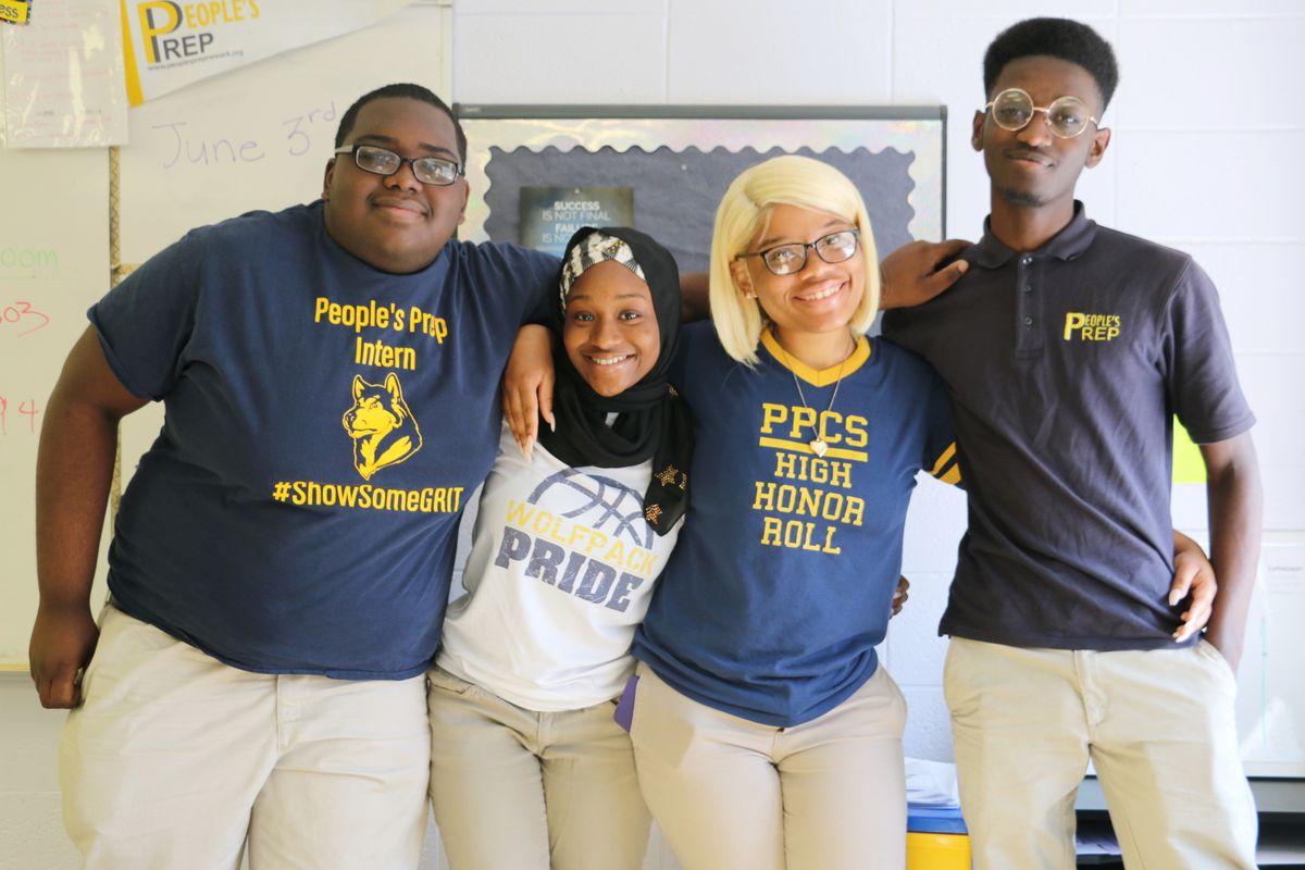 People's Prep seniors: Jeremiah Roberts, Mariama Sillah, Zianejah Sales, and Derek Bioh.