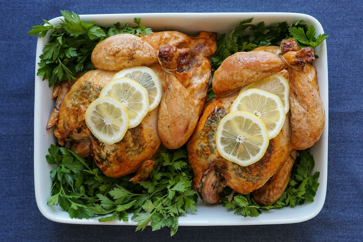 Easter roasted chicken from Huckeberry in Santa Monica, California.
