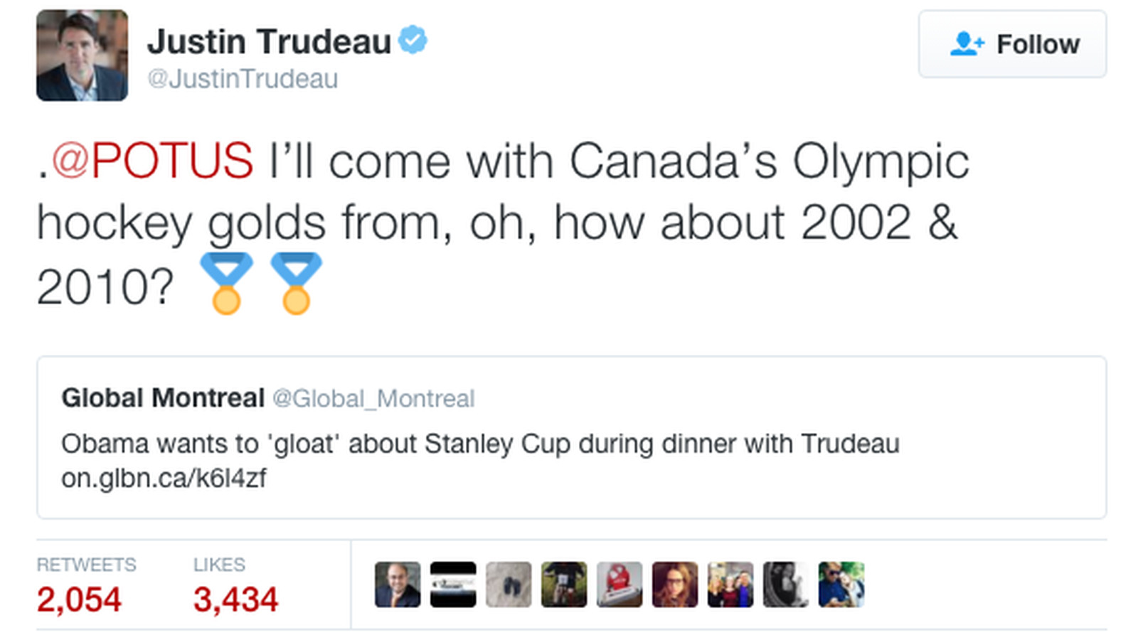 Canadian prime minister burns Barack Obama following his Stanley Cup gloating