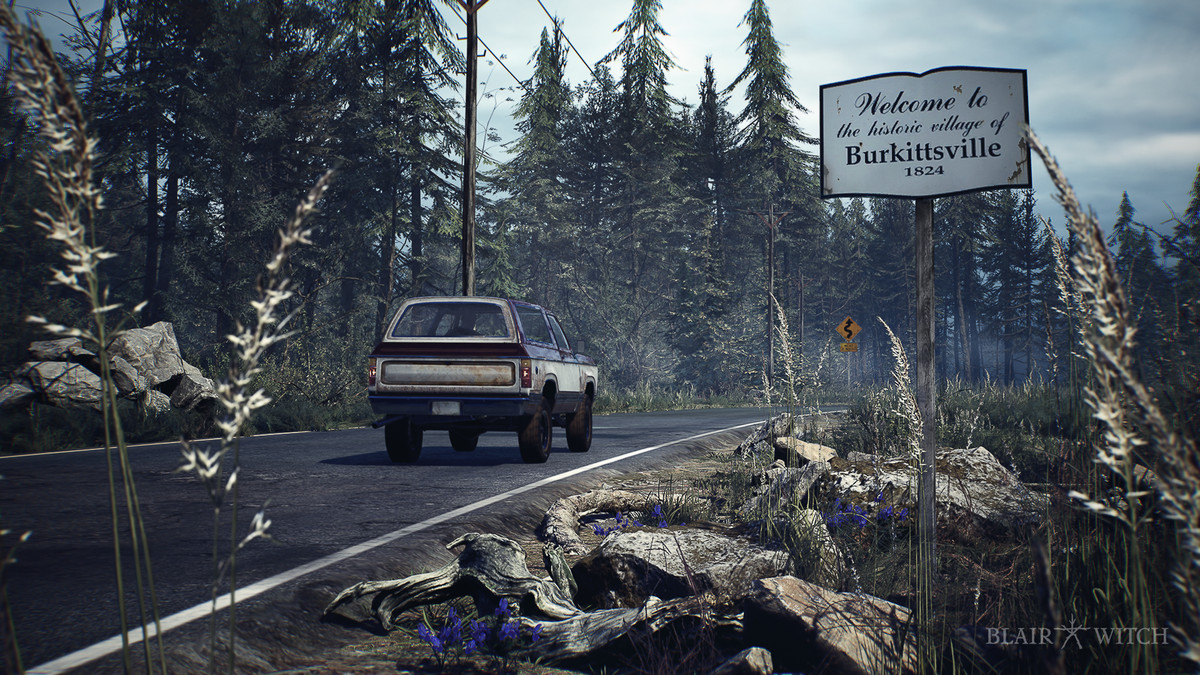 Blair Witch - The player drives into Burkittsville, the setting of the game.