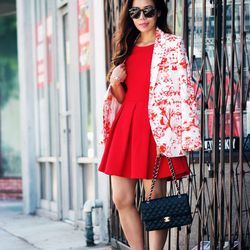 """Hallie of <a href=""""http://www.halliedaily.com""""target=""""_blank"""">Hallie Daily</a> is wearing a Paul and Joe blazer, a Chanel bag, <a href=""""http://www.revolveclothing.com/DisplayProduct.jsp?product=KWAL-WG5&utm_source=cj&utm_medium=affiliate&utm_campaign=4441"""