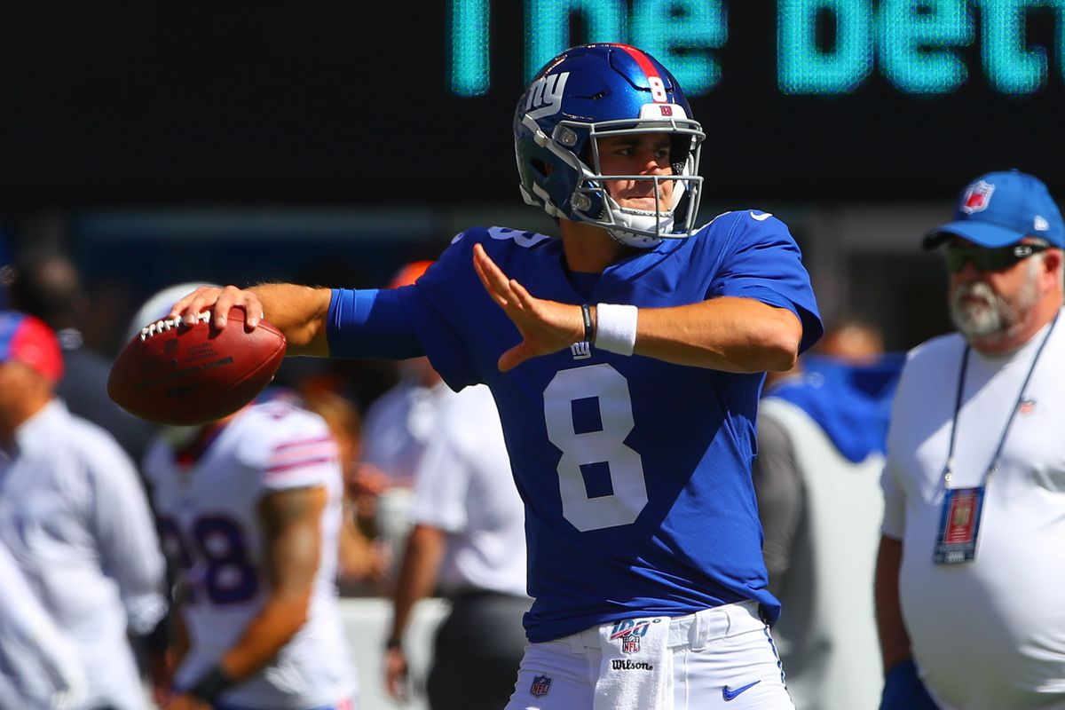 New York Giants quarterback Daniel Jones prior to the National Football League game between the New York Giants and Buffalo Bills on September 15, 2019 at MetLife Stadium in East Rutherford, NJ.