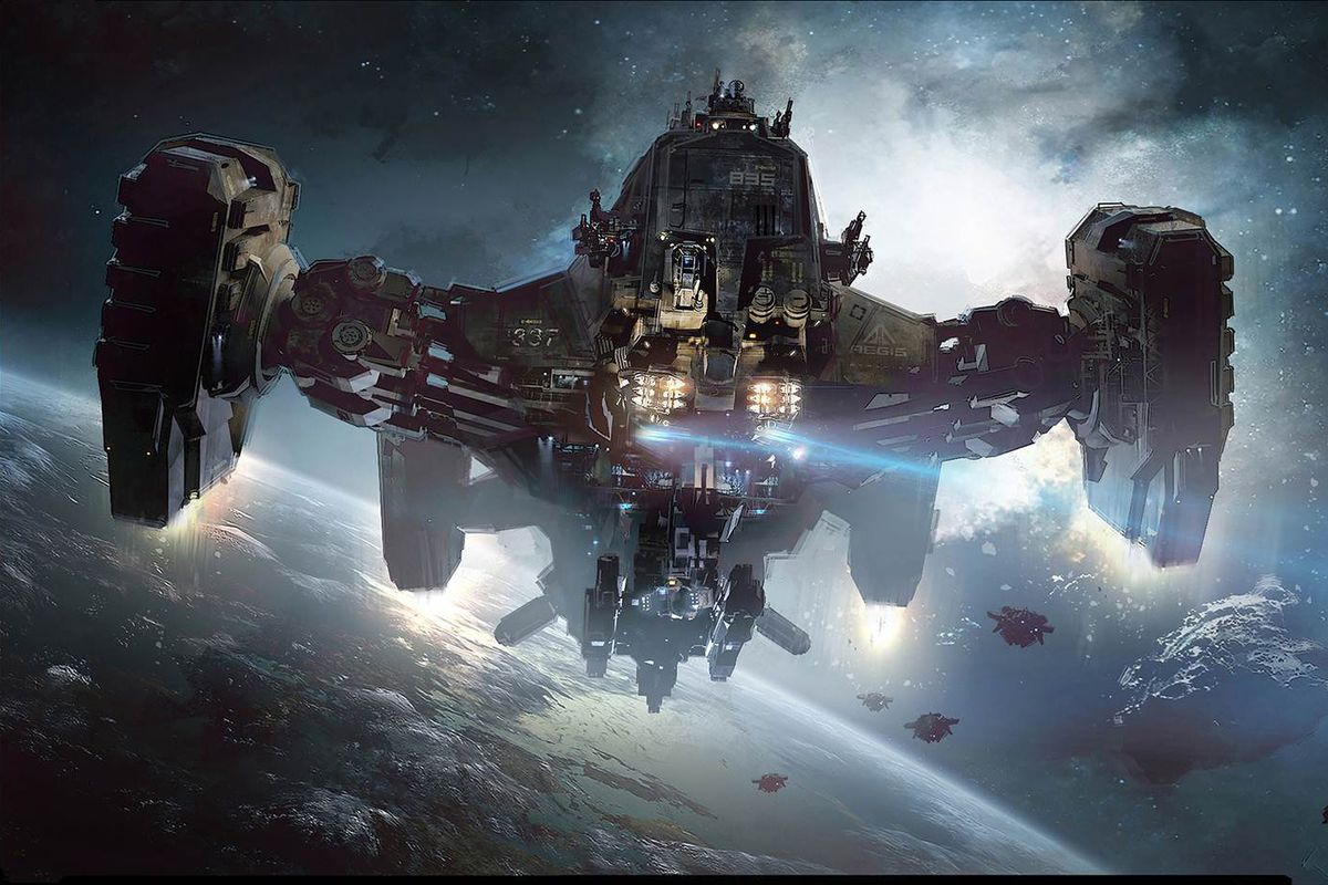 A large starship eases into orbit around a blue world, ready to begin a salvage operation on an wreck.