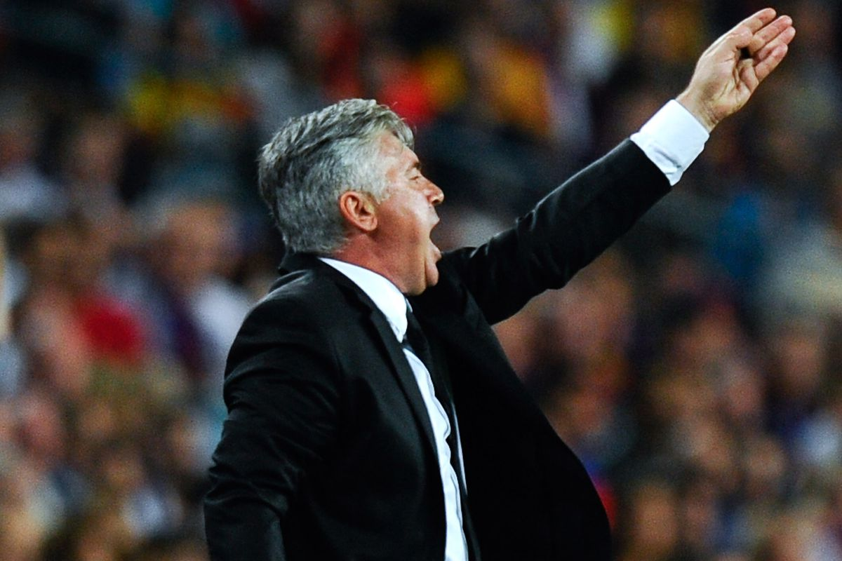 Ancelotti reacts to events on the pitch during el clasico