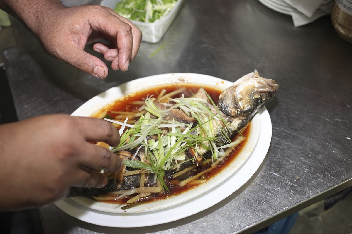 Seabass is served Cantonese style, with ginger and spring onion at Singburi in Leytonstone