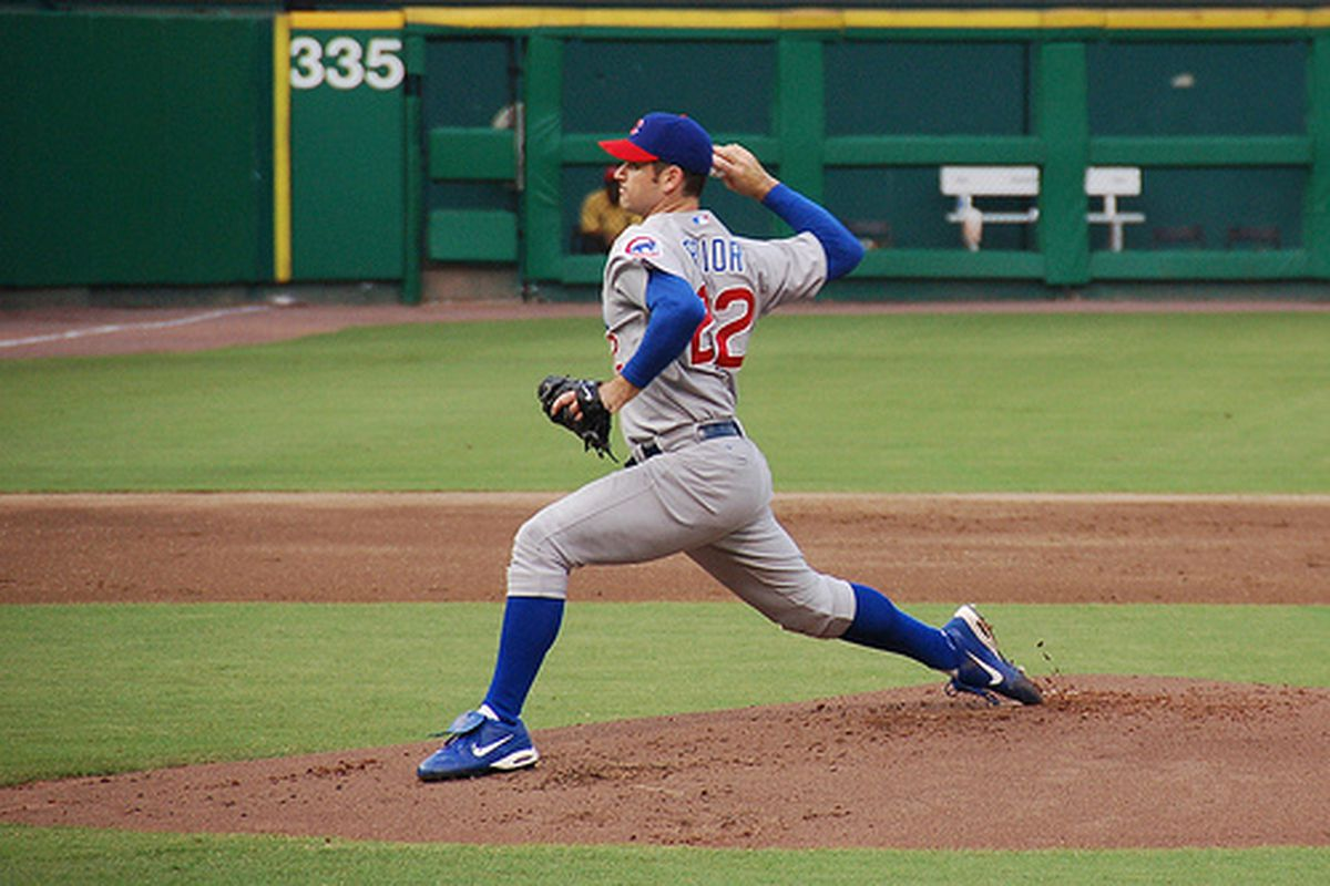 """Mark Prior pitching for the Chicago Cubs. Prior signed with the Boston Red Sox on Wednesday, May 2 after not playing baseball since 2006. (Photo via <a href=""""http://www.flickr.com/photos/ableman/195136089/"""">Scott Ableman</a>/Creative Commons)"""