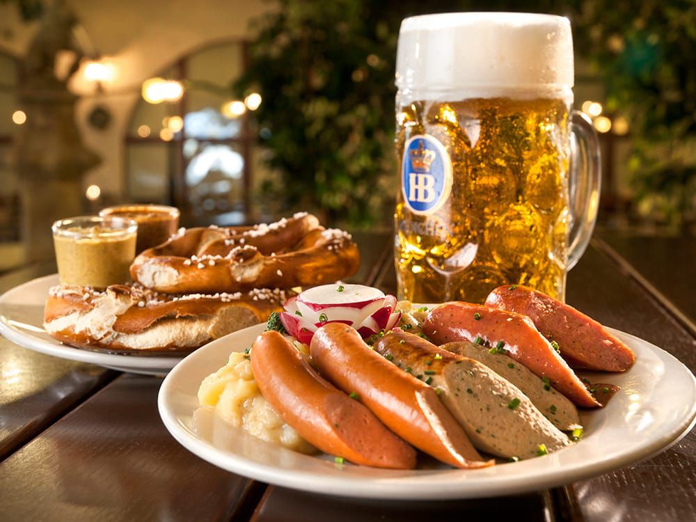 Beer stein and sausages