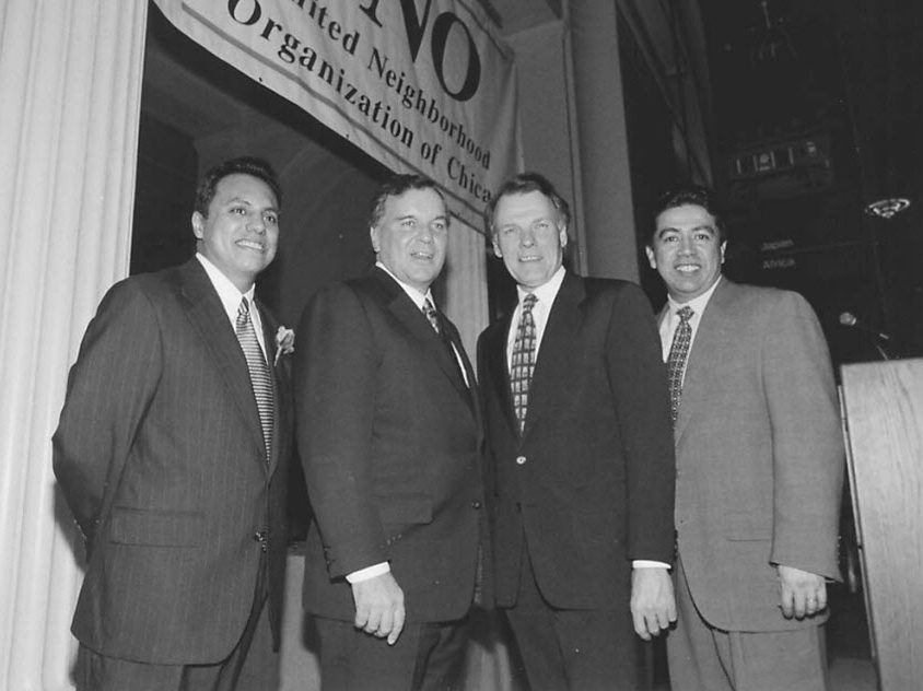 State House Speaker Mike Madigan, second from right, and Ald. Danny Solis (25th), right, attend the annual awards dinner of the United Neighborhood Organization in 1998. Also pictured are (from left) Juan Rangel, UNO president and executive director, and