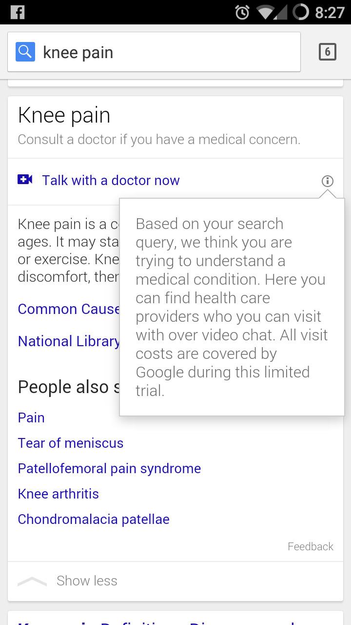 Google Helpout Doctor search screenshot