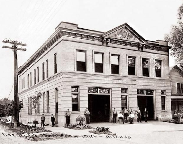 The Jefferson Park firehouse in 1909. | Northwest Chicago Historical Society.