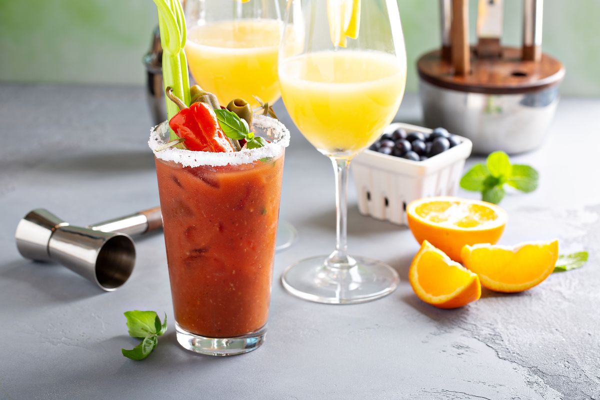 A bloody mary, mimosa, and other brunch drinks.