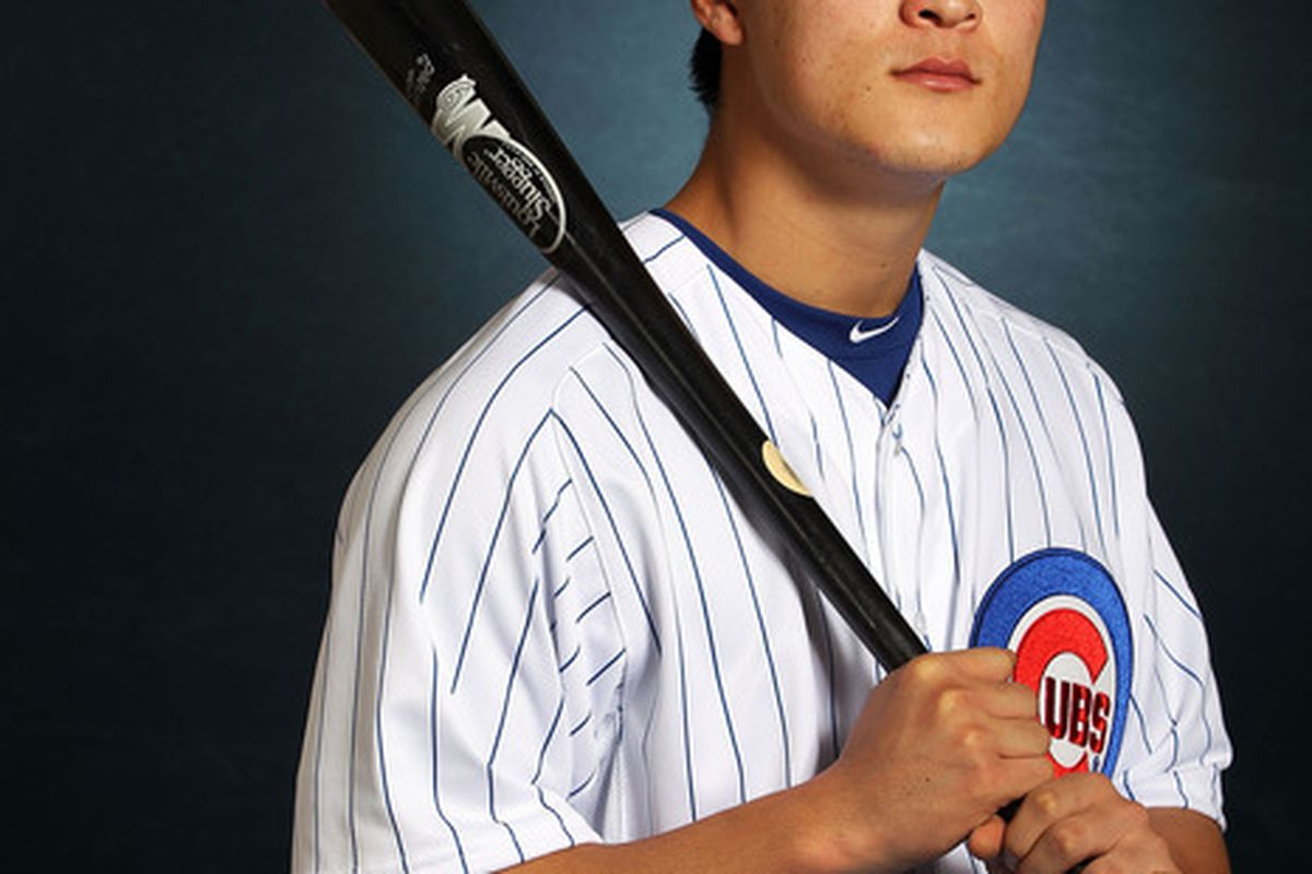 MESA, AZ - FEBRUARY 27:  Jae-Hoon Ha #79 of the Chicago Cubs poses during spring training photo day on February 27, 2012 in Mesa, Arizona.  (Photo by Jamie Squire/Getty Images)