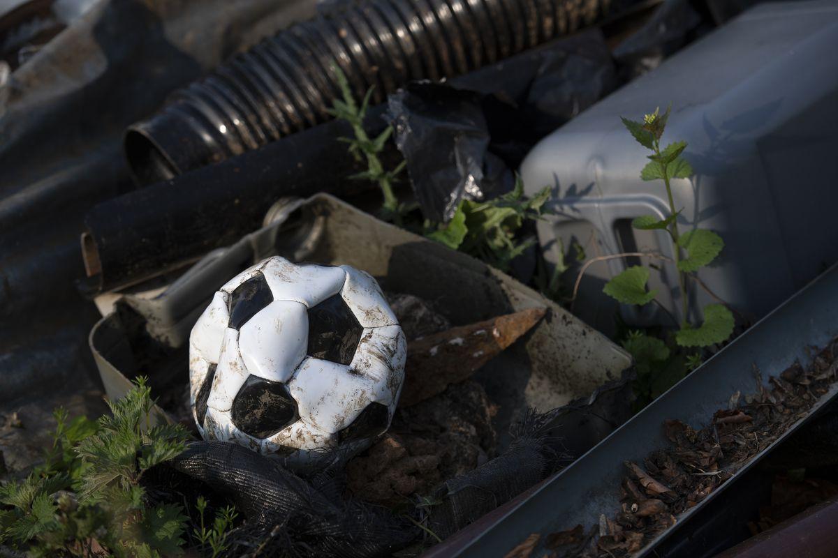 Deflated and Abandoned Football.