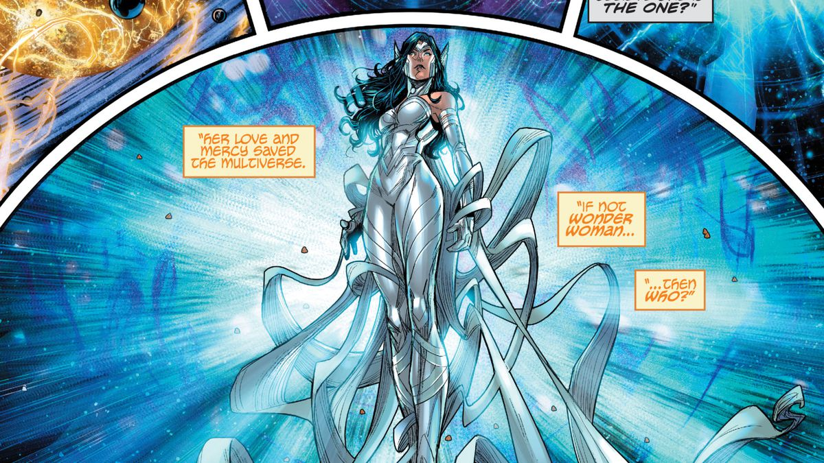 Wonder Woman walks through shining blue light in celestial space, in a all white costume adorned with improbably long flowing ribbons, in Infinit Frontier #0, DC Comics (2021).