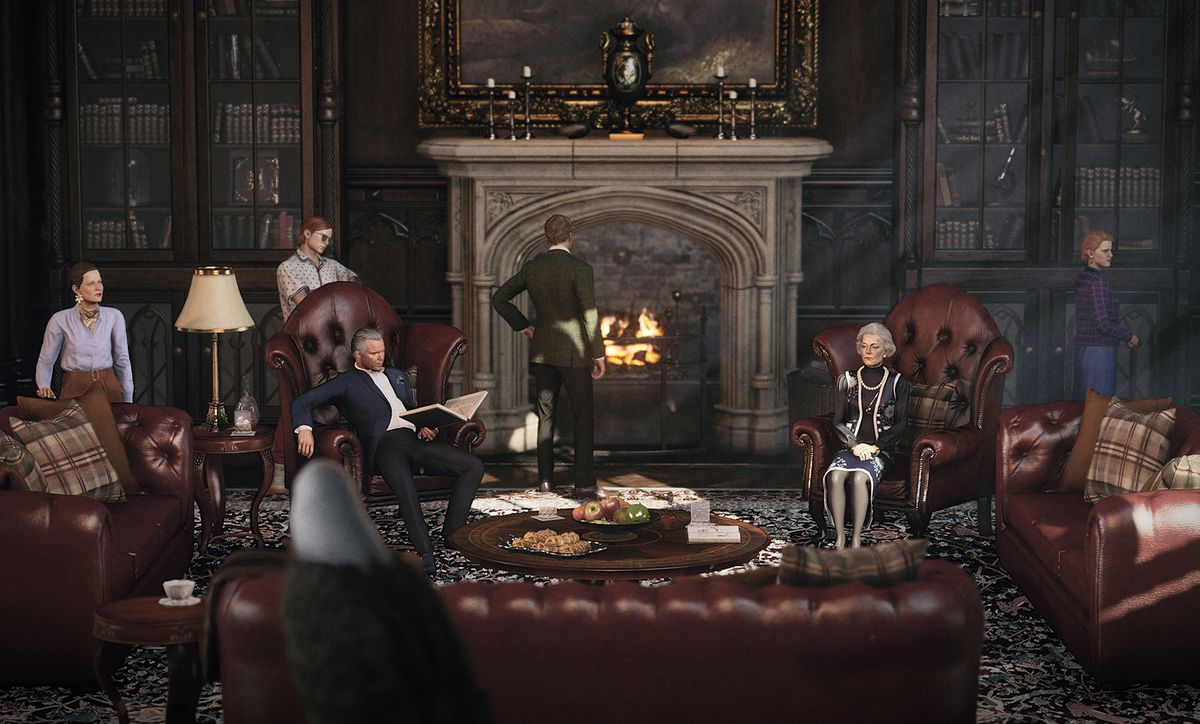 the Carlisle family gathered around a fireplace at Thornbridge Manor in Hitman 3's Dartmoor location