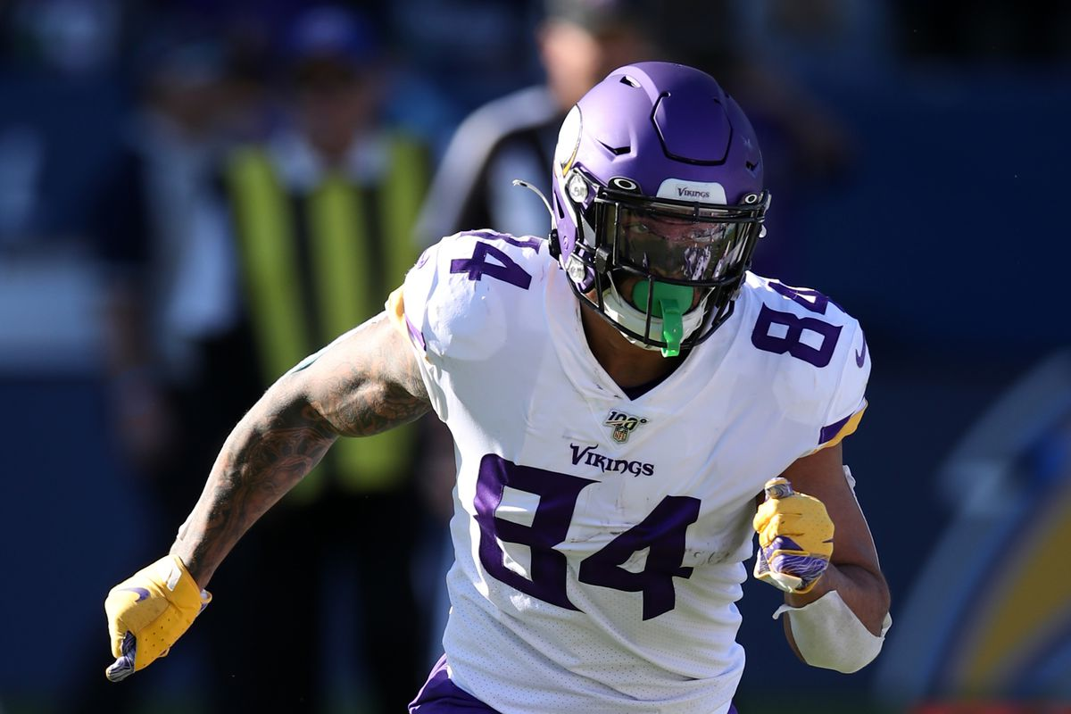 Irv Smith Jr. of the Minnesota Vikings in action during the game against the Los Angeles Chargers at Dignity Health Sports Park on December 15, 2019 in Carson, California. The Vikings defeated the Chargers 39-10.