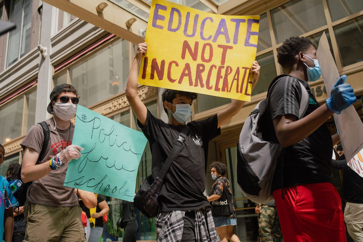 Youth activists demand the removal of School Resource Officers and advocate for more social services in Chicago Public Schools in front of Chicago Public Schools' headquarters in the loop on June 9, 2020.