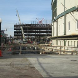 4:06 p.m. Another wider view of the excavation work along Clark Street -