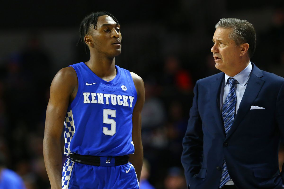 Kentucky Wildcats guard Immanuel Quickley walks to the bench as he gets fouled out against the Florida Gators during the second half at Exactech Arena.