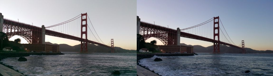 Photo taken at dusk by HTC One M9 on left and Samsung Galaxy S6 on right