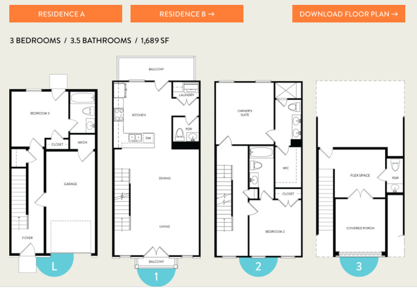 a rendering of a townhome floorplan.