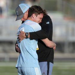 Stansbury plays Sky View in the 4A boys soccer semifinals at Jordan High School in Sandy on Monday, May 17, 2021. Stansbury won in a shoot-out after double overtime.
