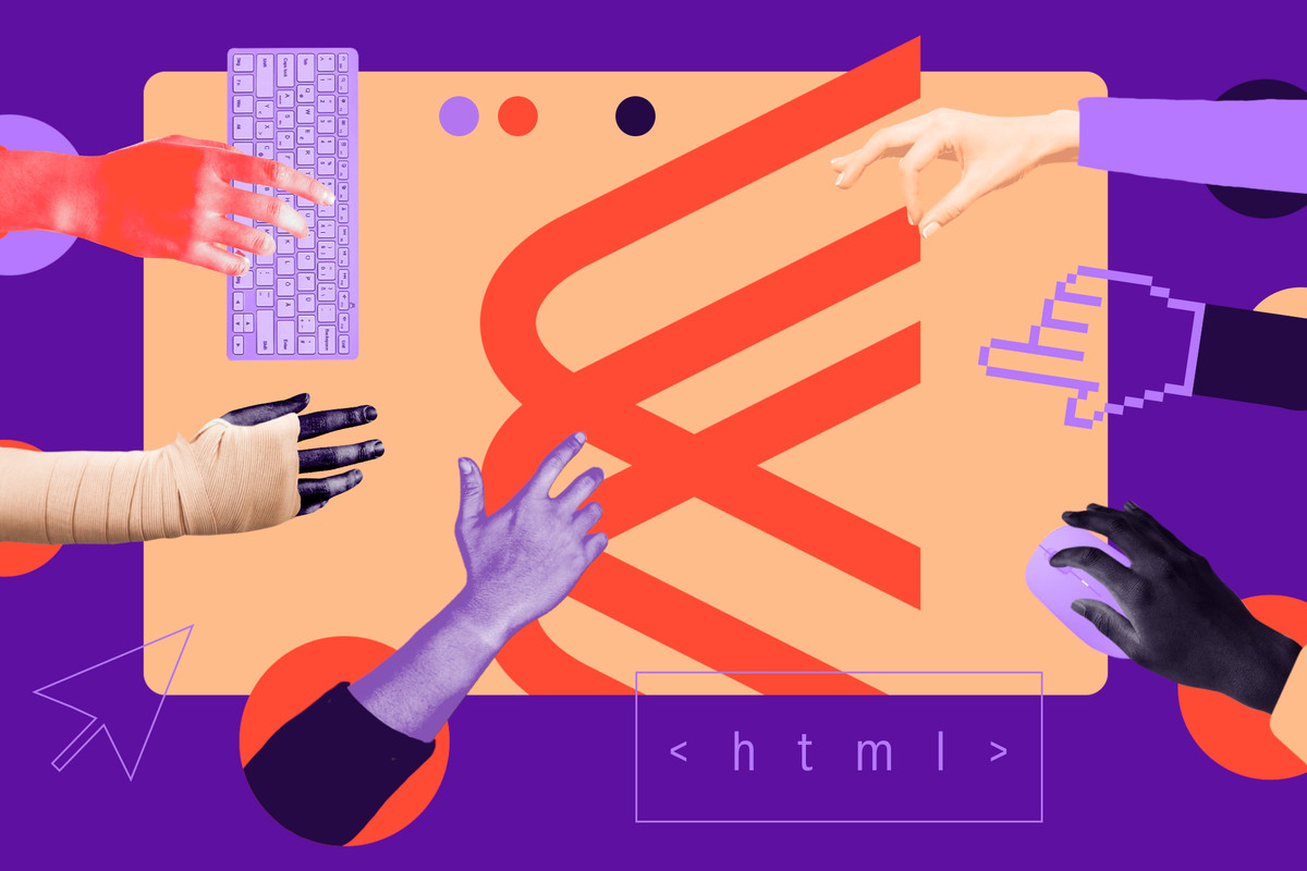 Abstract illustration of multi-colored human arms and hands reaching for and touching the Chorus logo (another arm is bandaged, one hand is a digital hand) while another hand holds a mouse, and another touches a keyboard.