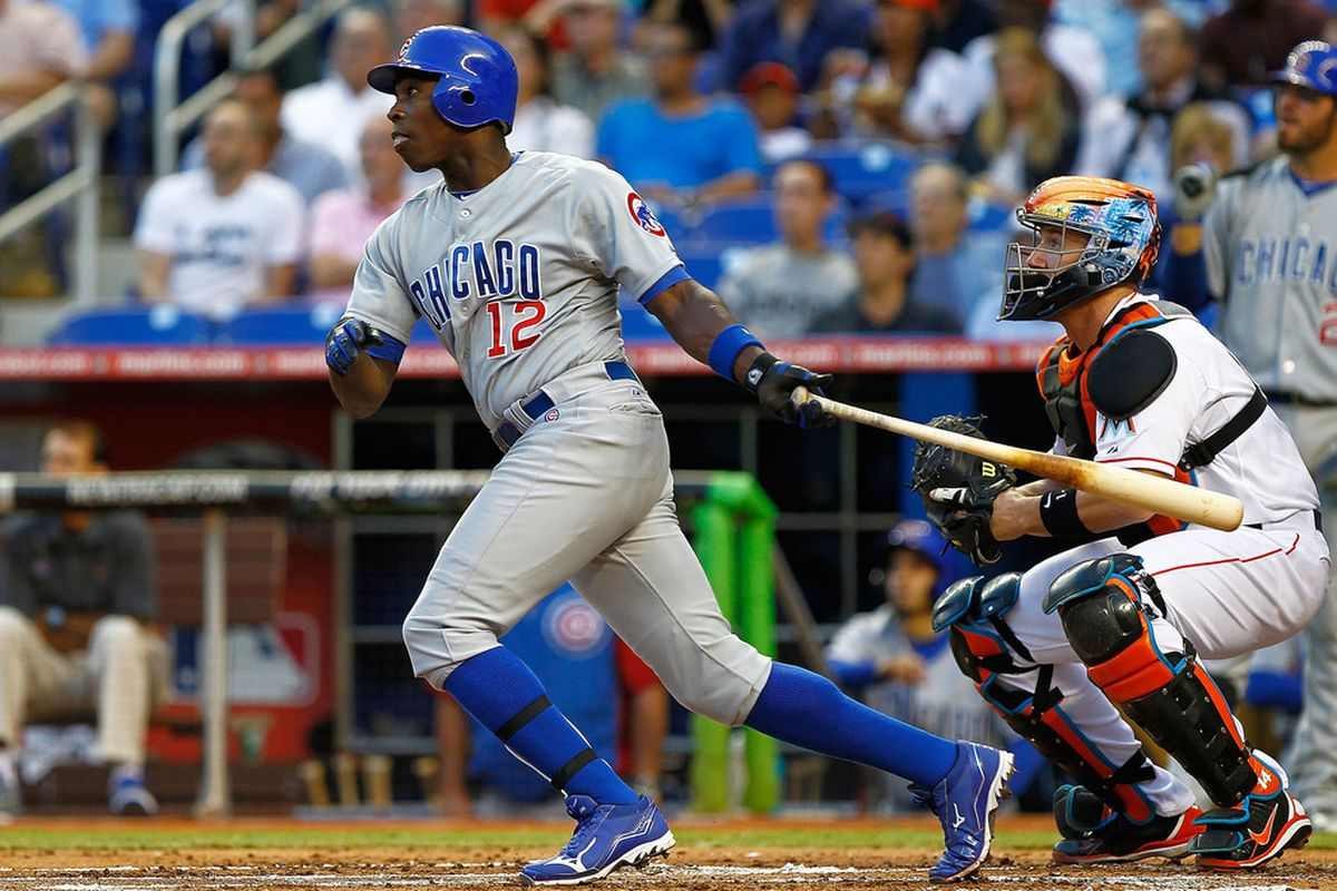 MIAMI, FL - APRIL 17:  Alfonso Soriano #12 of the Chicago Cubs hits during a game against the Miami Marlins at Marlins Park on April 17, 2012 in Miami, Florida.  (Photo by Mike Ehrmann/Getty Images)