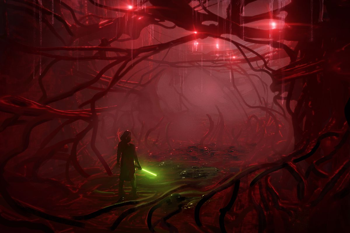 Star Wars: The Old Republic - a Jedi, holding a green light saber, stands in a creepy red tunnel environment lit with ominous lights