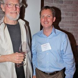 A rare Bill Harlan sighting. The Harlan Estate Winery founder is seen here on the left with former French Laundry wine director Paul Roberts. He now works' on Harlan's other label, Bond. <br />