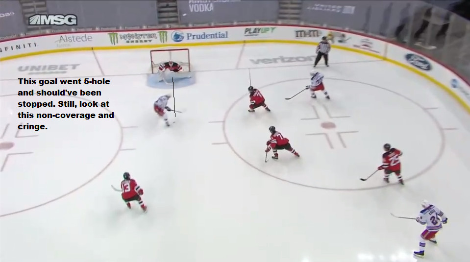 April 18: Blackwood should have stopped this shot, which would beat him through the legs. Still, someone didn't pick up Alexis Lafreniere storming down the middle.  But his teammate did and the rookie finished the drill.