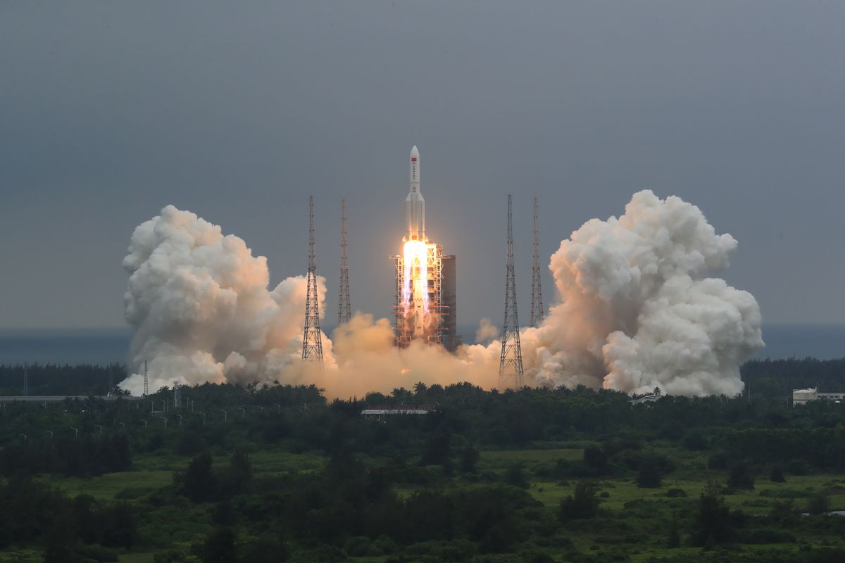 A Long March 5B rocket carrying a module for a Chinese space station lifts off from the Wenchang Spacecraft Launch Site in Wenchang in southern China's Hainan Province.