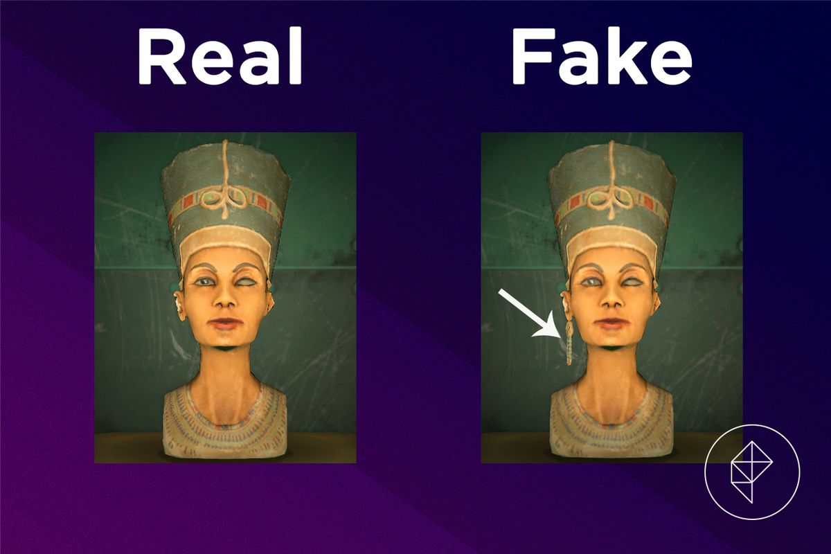 A comparison of the real and fake Mystic Statue