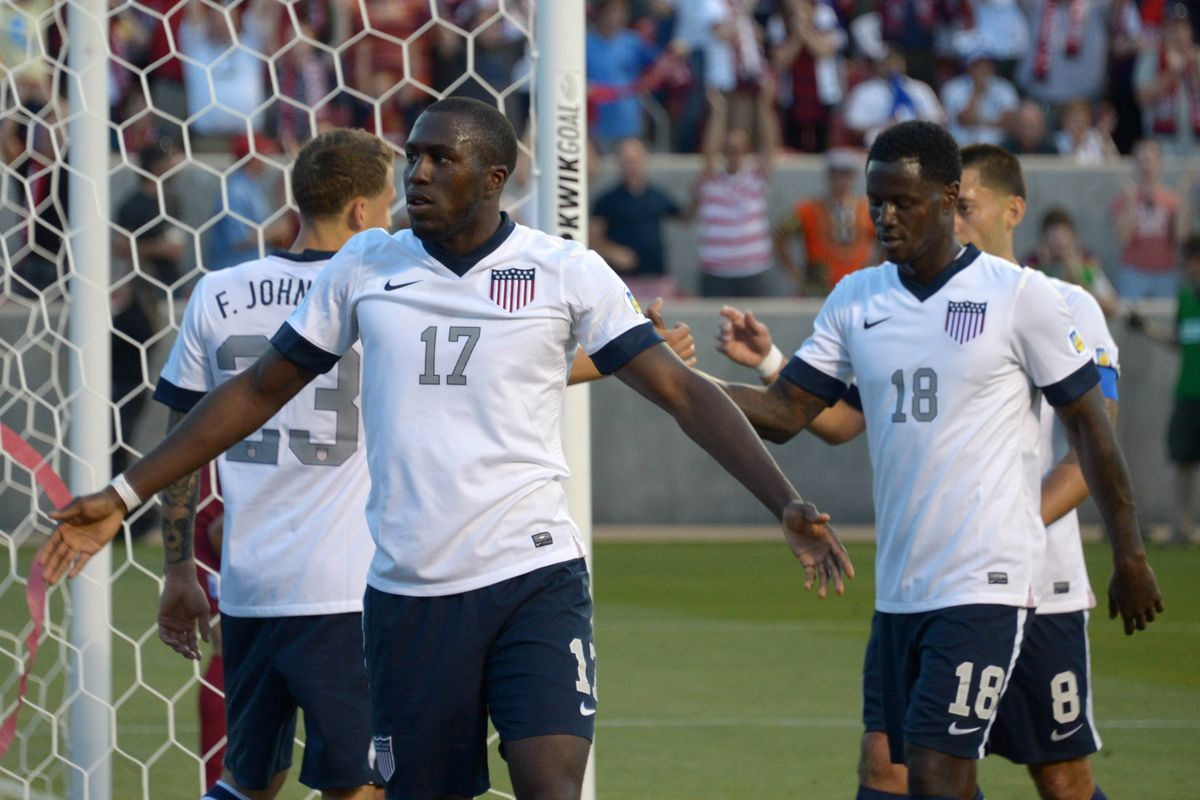 United States forward Jozy Altidore (17) celebrates with defender Fabian Johnson 923) and midfielder Eddie Johnson (18) after scoring a goal in the second half against Honduras in a FIFA World Cup Qualifier at Rio Tinto Stadium.