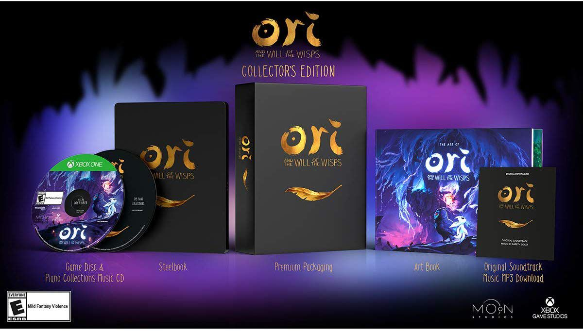 Product shot of the components of the Ori and the Will of the Wisps Collector's Edition