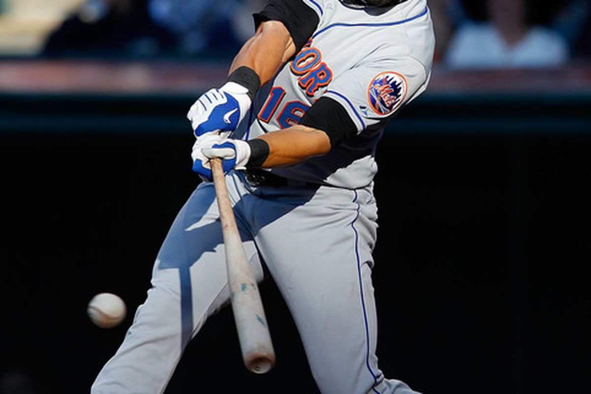 CLEVELAND - JUNE 17:  Angel Pagan #16 of the New York Mets hits a single during the game against the Cleveland Indians on June 17, 2010 at Progressive Field in Cleveland, Ohio.  (Photo by Jared Wickerham/Getty Images)