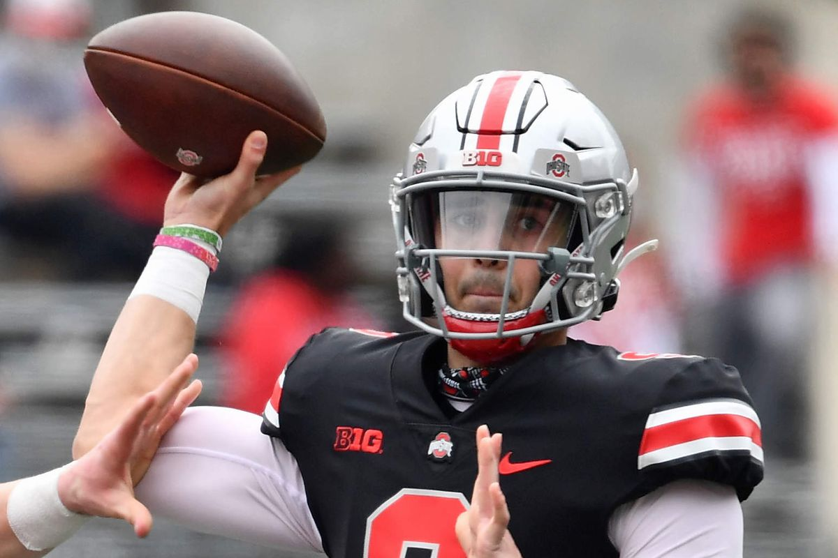 Quarterback Jack Miller III of the Ohio State Buckeyes in action during the Spring Game at Ohio Stadium on April 17, 2021 in Columbus, Ohio.