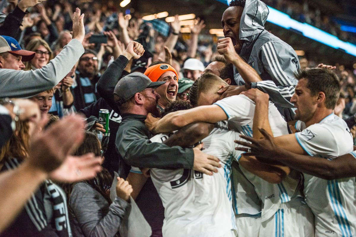 Minnesota United FC secures their spot in the MLS playoffs with a 2-1 win over Sporting Kansas City (Tim C McLaughlin)