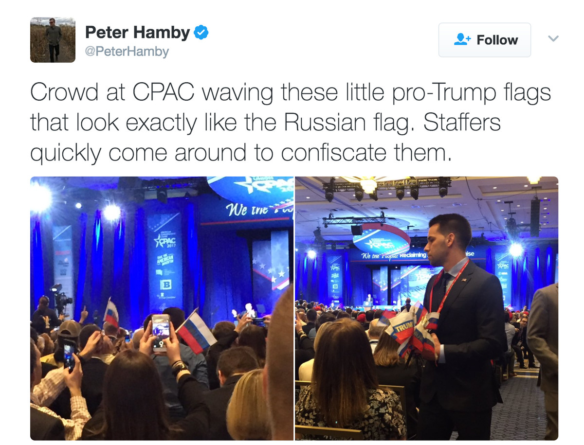 Trump Fans Were Waving Tiny Russian Flags Until Cpac Staff
