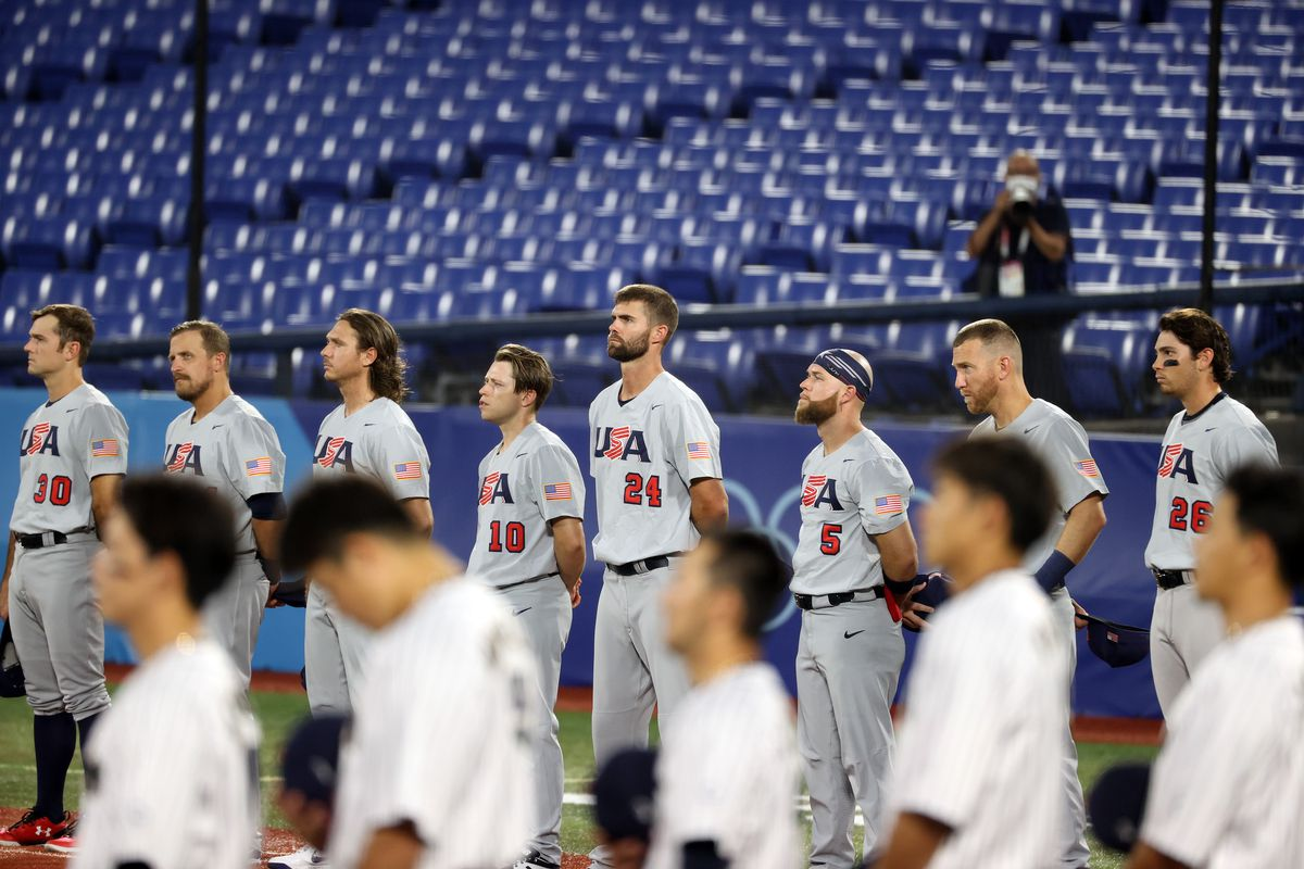 Team United States lines up for the national anthem prior to their game against Team Japan during the knockout stage of men's baseball on day ten of the Tokyo 2020 Olympic Games at Yokohama Baseball Stadium on August 02, 2021 in Yokohama, Kanagawa, Japan.