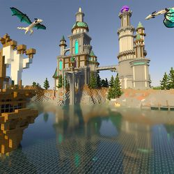"""The """"Crystal Palace"""" world in the <em>Minecraft</em> with RTX beta — ray tracing enabled"""