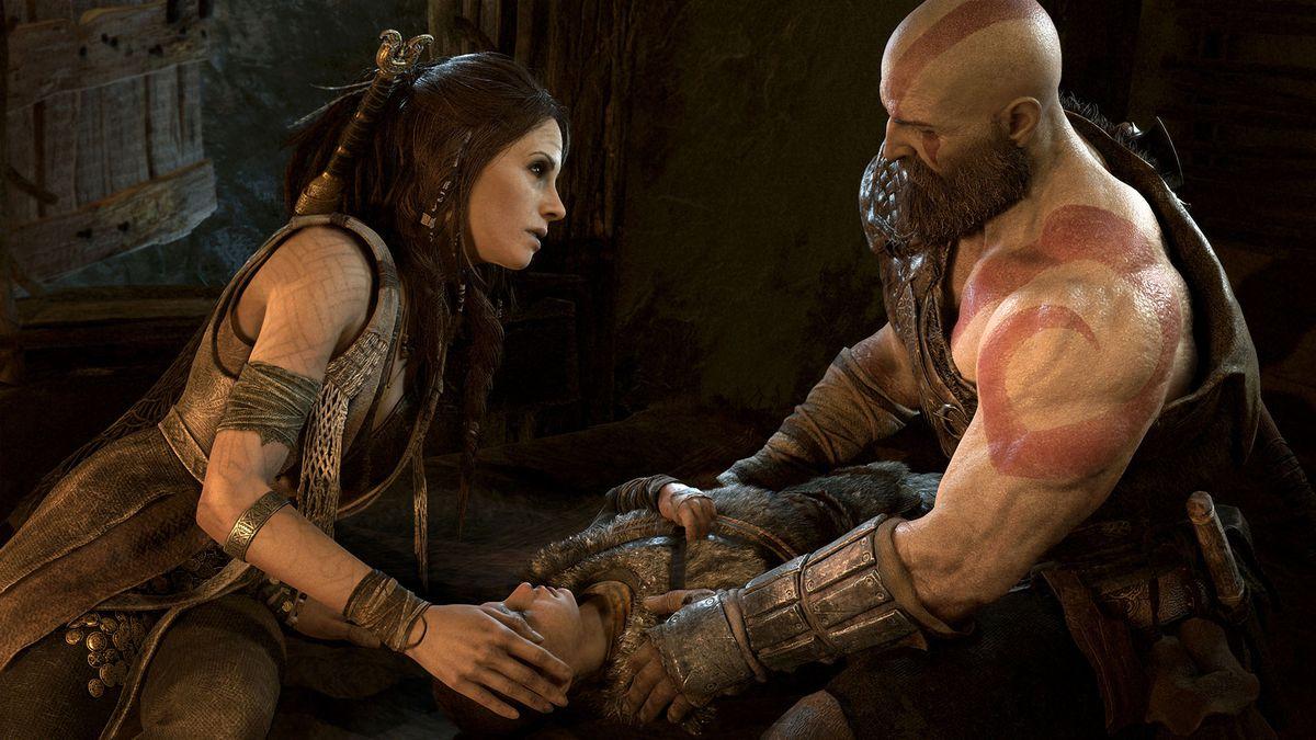 God of War - woman and Kratos caring for Atreus