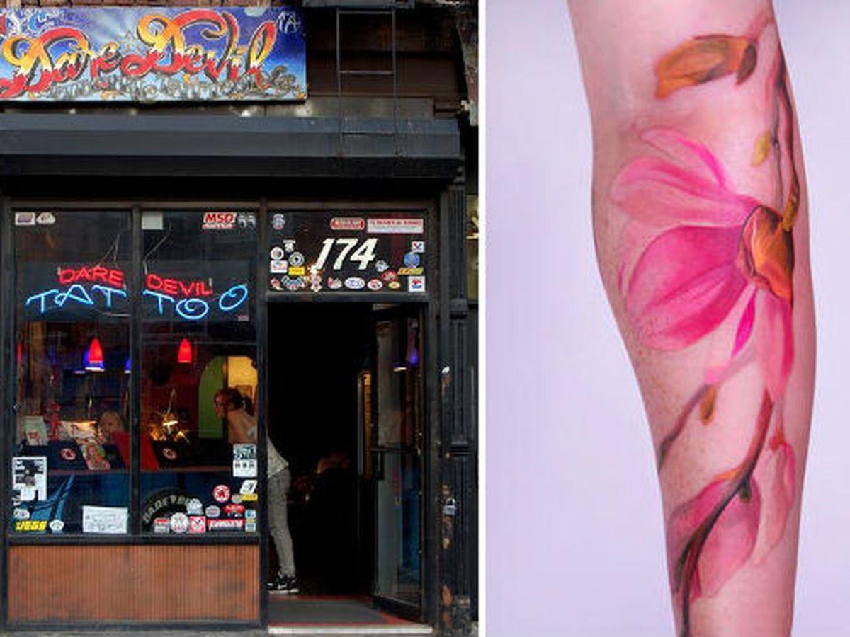 """Dare Devil Tattoo storefront via <a href=""""http://www.bigtattooplanet.com/directory/tattoo-studio/dare-devil-tattoo-0"""">Big Tattoo Planet</a>, Tattoo by <a href=""""http://www.daredeviltattoo.com/component/option,com_gallery2/Itemid,26/?g2_itemId=1249"""">A"""