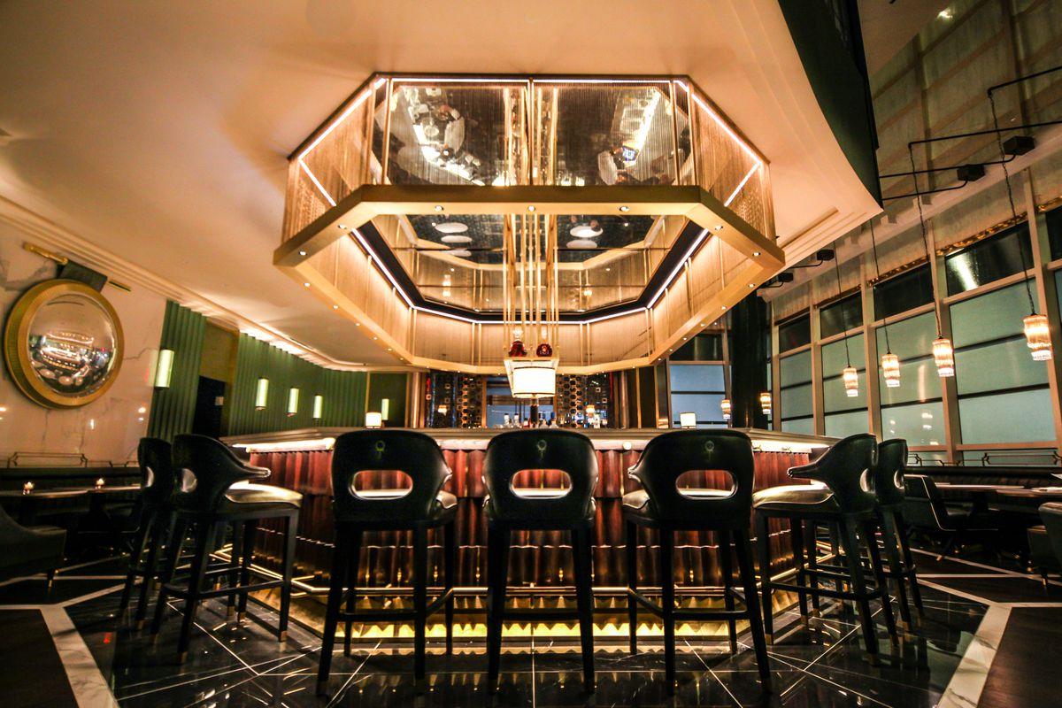 The octagonal bar sits empty at Hutong before service at night