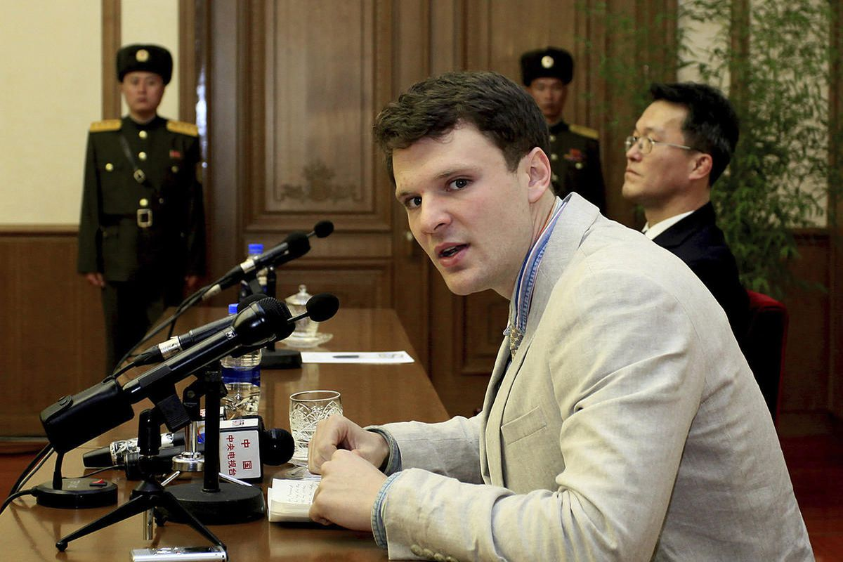 """FILE """""""" In this Feb. 29, 2016 file photo, American student Otto Warmbier speaks to reporters in Pyongyang, North Korea. Secretary of State Tillerson said Tuesday, June 13, 2017, that  North Korea released the jailed U.S. university student"""