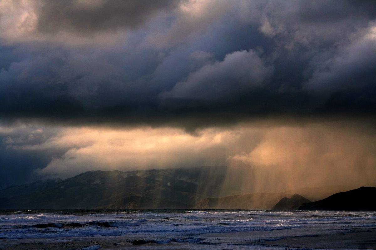 Rain falling on Ocean Beach.