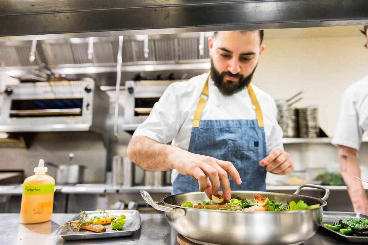 Chef Michael Rafidi in the kitchen