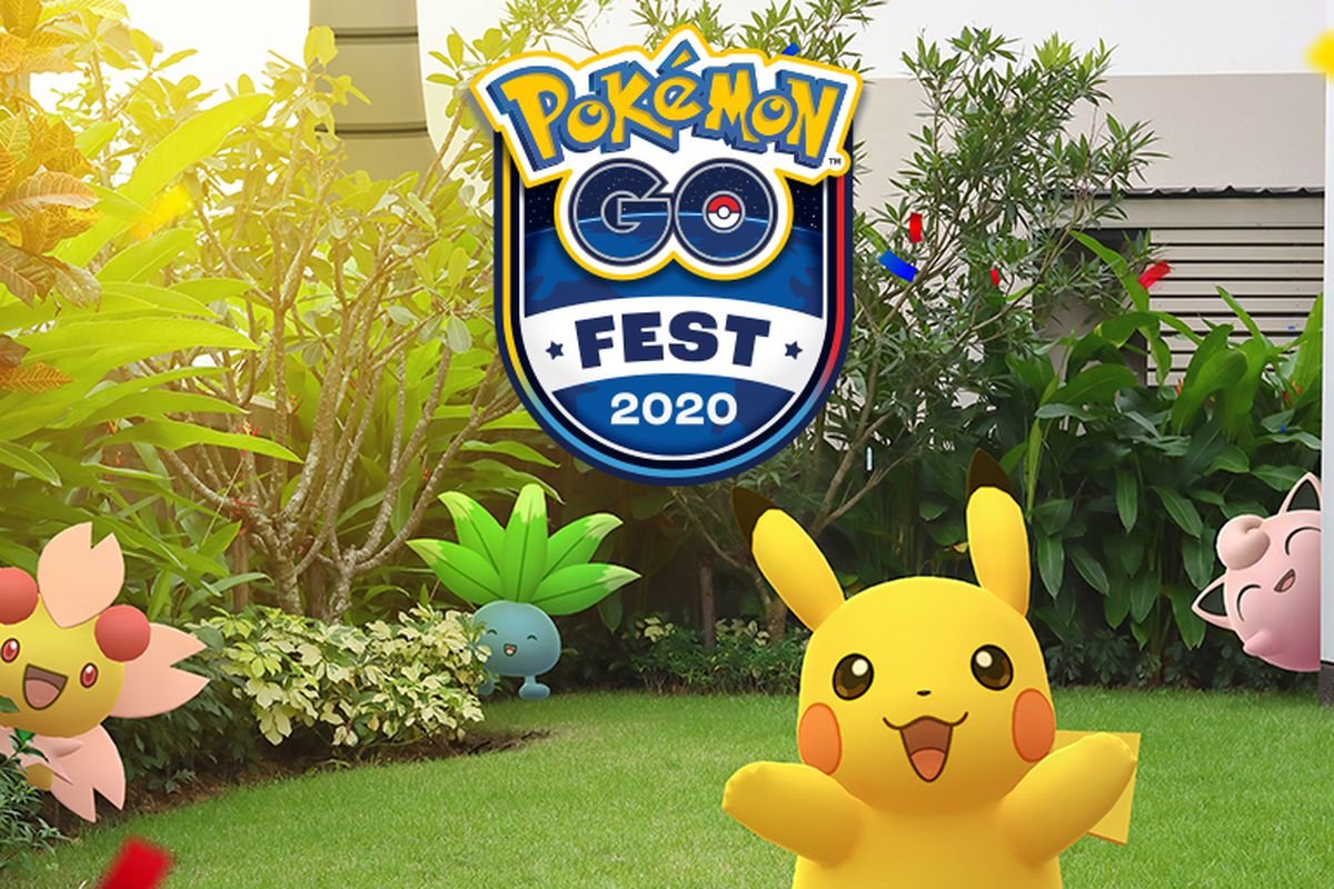 Artwork for Pokemon Go Fest 2020 featuring Pikachu, Oddish, Cherrim, and Jigglypuff