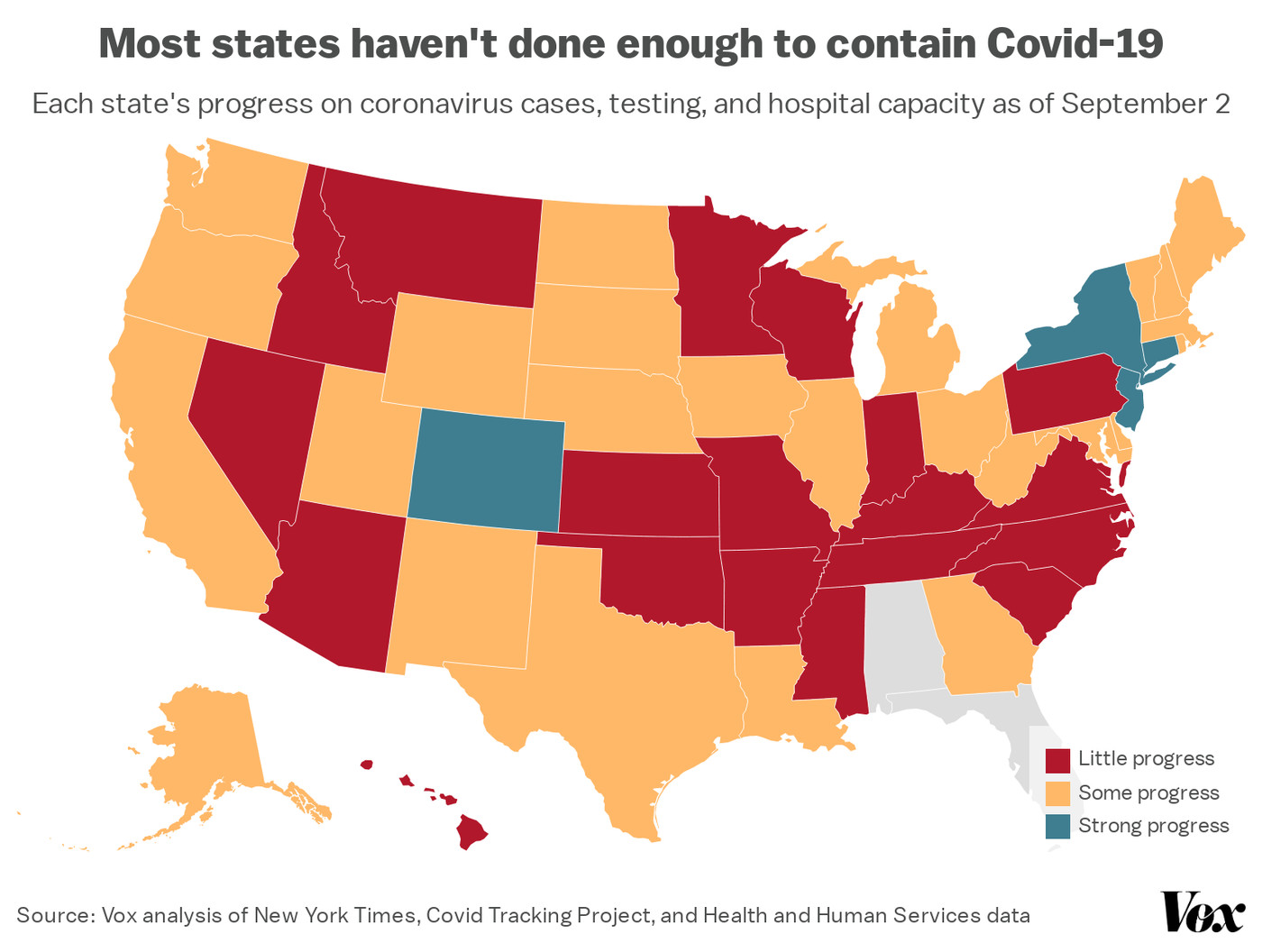 Image of: Coronavirus Map Just 4 States Meet Criteria To Reopen And Stay Safe Vox