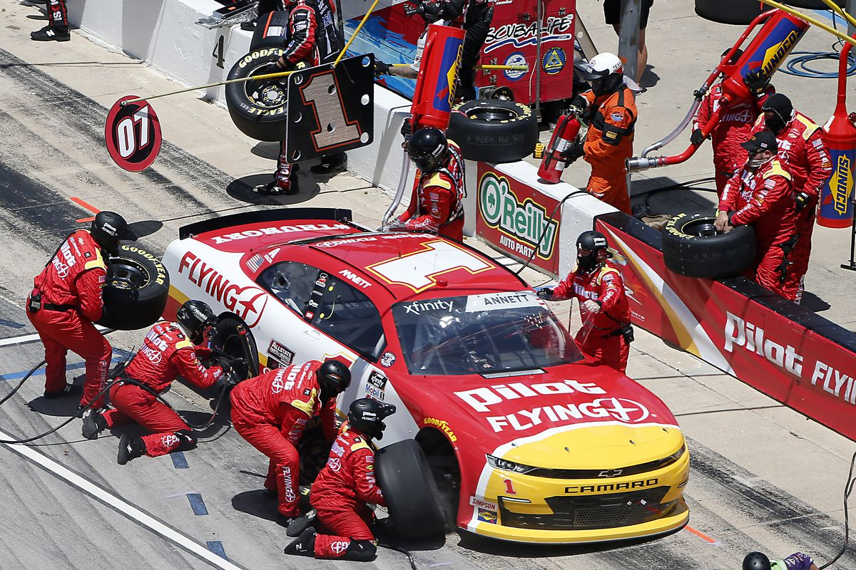 Michael Annett, driver of the #1 Pilot/Flying J Chevrolet, pits during the NASCAR Xfinity Series Bariatric Solutions 300 at Texas Motor Speedway on July 18, 2020 in Fort Worth, Texas.